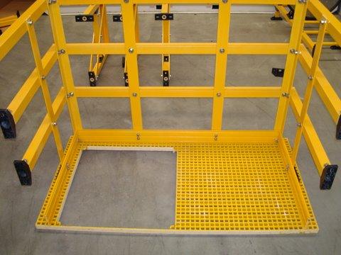 plataforma descanso escalera emergencia fibra de vidrio