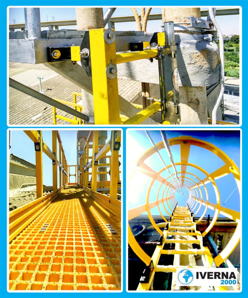 escalera marina con jaula de seguridad fibra de vidrio